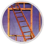 House & Garden Cover Illustration Of A Ladder Round Beach Towel
