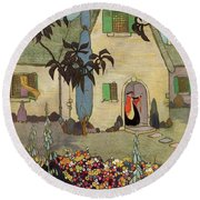 House & Garden Cover Illustration Of An Round Beach Towel