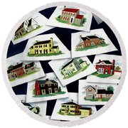 House & Garden Cover Illustration Of Various Homes Round Beach Towel