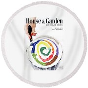 House & Garden Cover Of A Woman's Hand Stirring Round Beach Towel