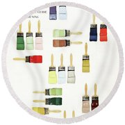 House & Garden Cover Of Paintbrushes Dripped Round Beach Towel