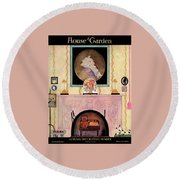 House And Garden Autumn Decorating Number Cover Round Beach Towel