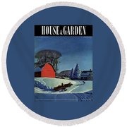 House And Garden Christmas Decoration Cover Round Beach Towel