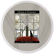 House And Garden Cover Round Beach Towel by Andre E.  Marty