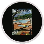 House And Garden Cover Featuring A Terrace Round Beach Towel