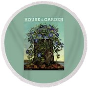 House And Garden Cover Featuring Flowers Growing Round Beach Towel
