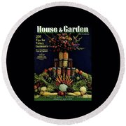 House And Garden Cover Featuring Fruit Round Beach Towel