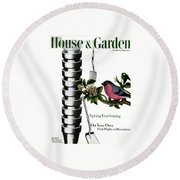 House And Garden Cover Featuring Pots And A Bird Round Beach Towel