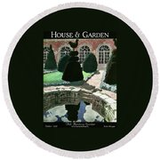 House And Garden Fall Planting Number Cover Round Beach Towel