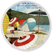 House And Garden Featuring Umbrellas On A Beach Round Beach Towel