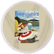House And Garden Featuring Umbrellas On A Beach Round Beach Towel