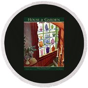 House And Garden House Planning Number Cover Round Beach Towel