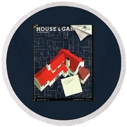 House And Garden Houses With Plans Cover Round Beach Towel