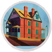 House By The Freeway Round Beach Towel