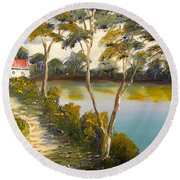 House By The Lake Round Beach Towel