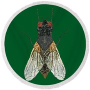 House Fly In Green Round Beach Towel