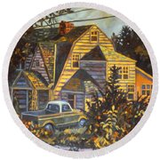 House In Christiansburg Round Beach Towel