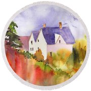 Round Beach Towel featuring the painting House In The Country by Yolanda Koh