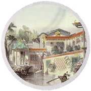 House Of Conseequa, A Chinese Merchant Round Beach Towel