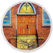 House Of God Round Beach Towel by Rodney Lee Williams