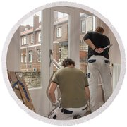 House Painters At Work Round Beach Towel