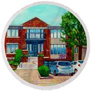 House Portrait-house  Art-commissioned  Montreal Paintings-carole Spandau Round Beach Towel