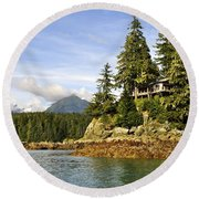 Round Beach Towel featuring the photograph House Upon A Rock by Cathy Mahnke