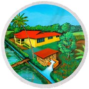 House With A Water Pump Round Beach Towel