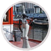 Round Beach Towel featuring the photograph Houseboat Chanteuse by Allen Beatty