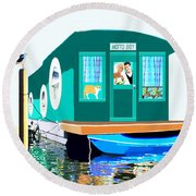 Houseboat Round Beach Towel by Marian Cates