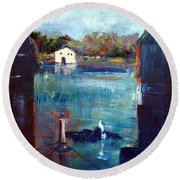 Houseboat Shadows Round Beach Towel