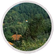 Houses At The Hillside, Transylvania Round Beach Towel