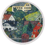 Houses At Unterach On The Attersee Round Beach Towel