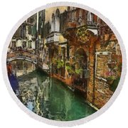 Round Beach Towel featuring the painting Houses In Venice Italy by Georgi Dimitrov
