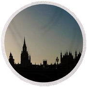 Houses Of Parliament Skyline In Silhouette Round Beach Towel