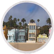 Houses On The Beach, Santa Monica, Los Round Beach Towel by Panoramic Images