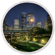 Houston On The Bayou Round Beach Towel