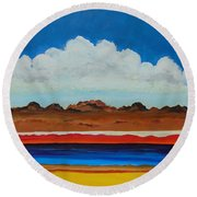 Round Beach Towel featuring the painting How Deep by Dan Whittemore
