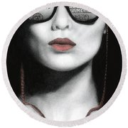 Round Beach Towel featuring the painting How Do I Love Thee...let Me Count Your Money by Pat Erickson