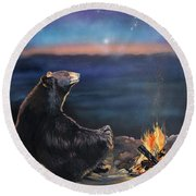 How Grandfather Bear Created The Stars Round Beach Towel