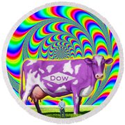 How Now Dow Cow? Round Beach Towel