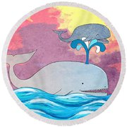 How Whales Have Fun Round Beach Towel