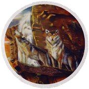 Round Beach Towel featuring the painting Howling For The Nightlife  by Thomas J Herring