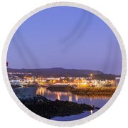 Howth Harbour Lighthouse Round Beach Towel