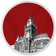 Harvard University - Memorial Hall - Dark Red Round Beach Towel