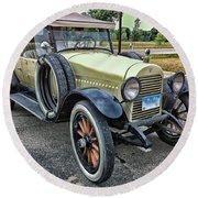 Round Beach Towel featuring the photograph hudson 1921 phaeton car HDR by Paul Fearn