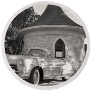 Round Beach Towel featuring the photograph Hudson Commodore Convertible by Verana Stark