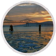 Hudson River Icey Sunset Round Beach Towel by Jeffrey Friedkin