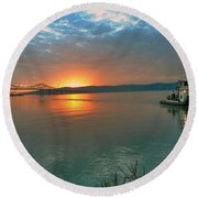 Hudson River Sunset Round Beach Towel by Jeffrey Friedkin