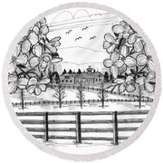 Hudson Valley Apple Blossoms Round Beach Towel